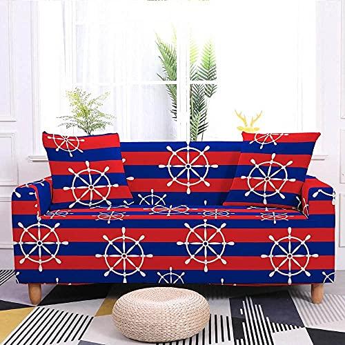 Fundas de sofá para sala de estar, fundas de sofá súper elásticas con estampado de timón blanco, rayas rojas y azules, fundas de sofá de tela lavable con 2 fundas de almohada, para sillón Lo