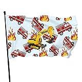 Bandera de jardín de camión de bomberos de dibujos animados Bandera de interior al aire libre 3 x 5 pies, banderas de playa duraderas resistentes a la decoloración con encabezado, fácil de usar