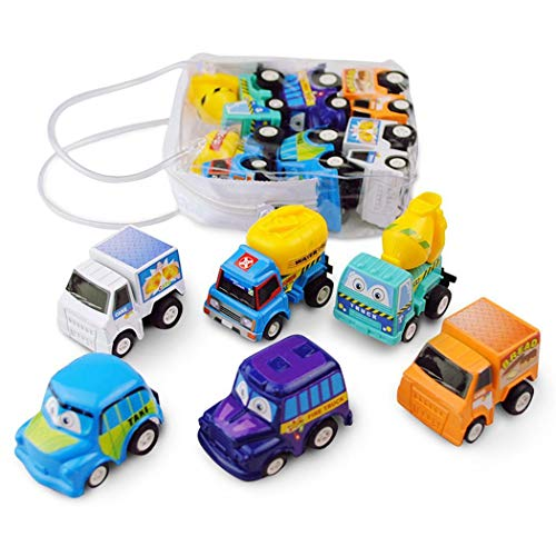 Kloius 6pcs Kid Mini Cars Toys Niños Inercia Pull Back Vehicle Toy Circuitos y playsets para Coches de Juguete