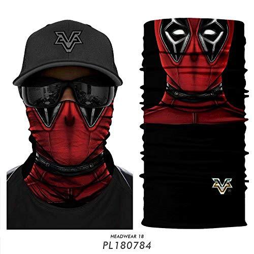 PAWANG 3D Spiderman Neck Warmer Venom Deadpool Neck Buffs Motorcycle Face Shield Skull Ski Motorbike Seamless Bandana Running Face Mask