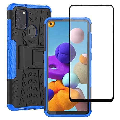 Yiakeng Funda Samsung Galaxy A21s Carcasa, Galaxy A21s Funda, y Protector Pantalla, Silicona a Prueba de Choques Protector con Kickstand para Samsung Galaxy A21s (Azul)