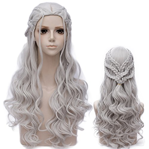 Probeauty 2017 New Long Braid Curly Women Cosplay Wigs +Wig Cap (Silver Curly Braid-Three Layer)