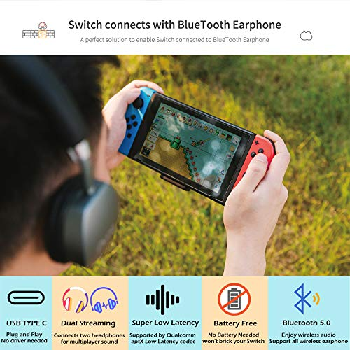 GULIkit Route Air Bluetooth Adapter Audio Transmitter für Nintendo Switch/Switch Lite PS4 PC, USB-C Bluetooth Dongle mit aptX Low Latency kompatibel mit Bluetooth Kopfhörer - Schwarz