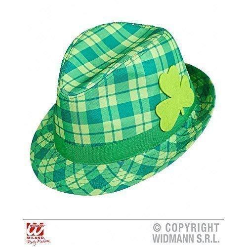 Lively Moments Ska / Trillby Hut / Fedora grün karriert mit Kleeblatt ideal für St Patrick's Day als Kostümzubehör