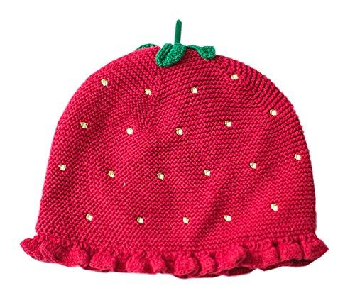 Jolie Strawberry hiver doux Cap chaud de laine tricotée/chapeau pour 12-24 mois