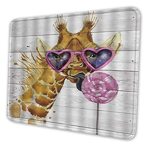COVASA Large Keyboard Rechteck Mauspad,Kopf Giraffe tragen Sonnenbrille Eat Pink Lollipop,rutschfest Haltbar für Desktop-Computer-Spiele