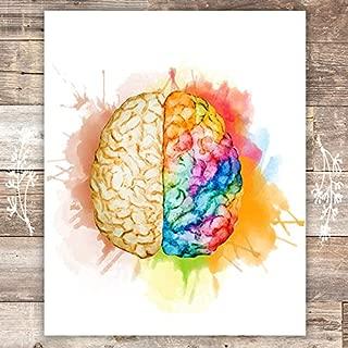 Watercolor Creative Brain Art Print - Unframed - 8x10
