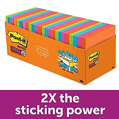 Post-it Super Sticky Notes, Bright Tropical Colors, Cabinet Pack, Standard Size, Double Adhesion, 3 in x 3 in