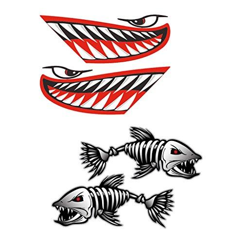 Almencla 2 x Mund-Aufkleber und 2 x Fischgräten-Aufkleber für Angelboot, Kanu, Kajak Zubehör