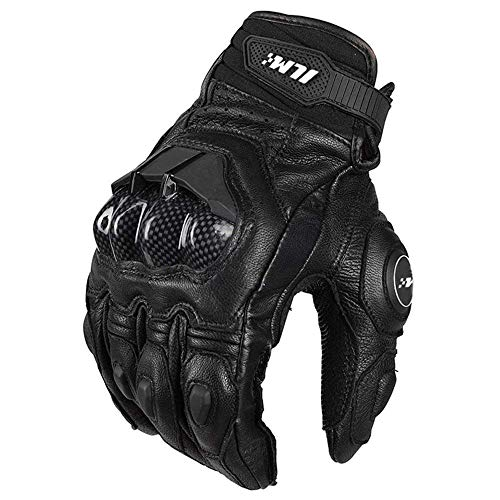 ILM Air Flow Leather Motorcycle Gloves Touchscreen for Men and Women (XXL, Black)