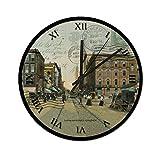 Pealrich 25 x 25 cm silencioso reloj de pared Springfield Ohio postal High St 1909 redondo reloj para casa, oficina, aula, escuela, fácil de leer