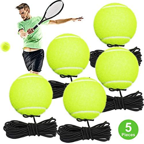 Fostoy 5 Stück Tennisbälle mit Schnur, Elastischer Tennis Trainingsball Rebound Ball Ideal für Anfänger Erwachsene Kinder Selbststudium Übung Indoor Outdoor