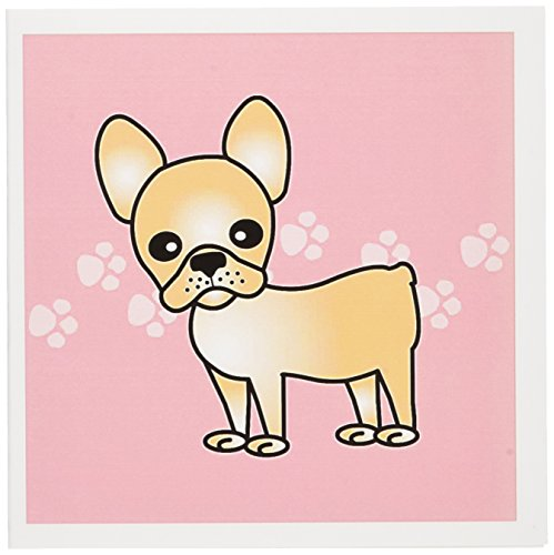 3dRose Cute Cream French Bulldog Pink with Pawprints - Greeting Cards, 6 x 6 inches, set of 6 (gc_25323_1)