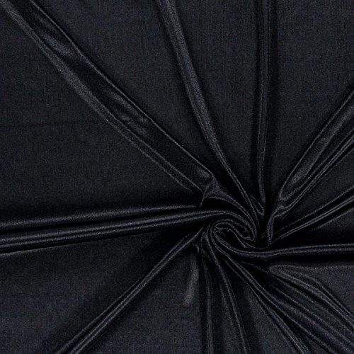 Futterstoff Charmeuse – schwarz — Meterware ab 0,5m — STANDARD 100 by OEKO-TEX® Produktklasse I — zum Nähen von Futter, Abend- und Partymode und Tops/T-Shirts