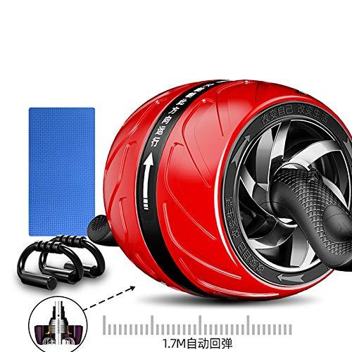 LHY SAVE Rueda Abdominales Roller Aparato de Abdominales, Rebote automático, Abdominal Aparato de Entrenamiento y Ayuda para Las Rodillas Unisex Adulto,Rojo,C