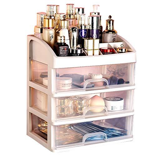 化粧ブラシ収納ボックス3層ホワイト、ポータブル化粧収納ボックスアクセサリー、デスクトップオフィス収納収納ボックス、バスルームバニティ収納収納ボックス、化粧品、ジュエリー、口紅、化粧ブラシ、スキンケア製品などに適しています。 (Large(23.3×17×2