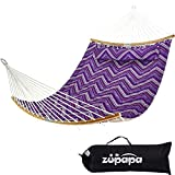 Zupapa Quilted Double Hammock, 2 Person Hammock with Spreader bar and Detachable Pillow, Heavy-Duty Hammock Perfect for Patio Yard, Large Hammocks with Carrying Bag