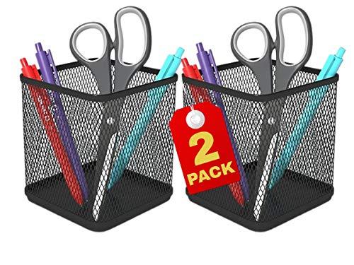 1InTheOffice Pen Cup Holder, Metal Mesh Pencil Cup Holder, Stackable Wire Mesh Regular Pencil Holder, Matte Black 2 Pack
