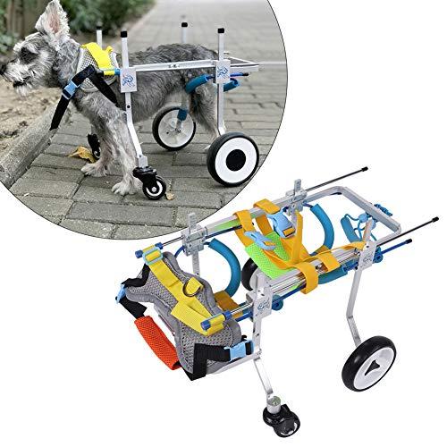 犬用車椅子 愛犬の 車いす ペット 歩行器 犬 補助輪 後ろ足 元気 リハビ 歩行補助 調整可能 アルミ合金素材 バックル付き(XS広がり)