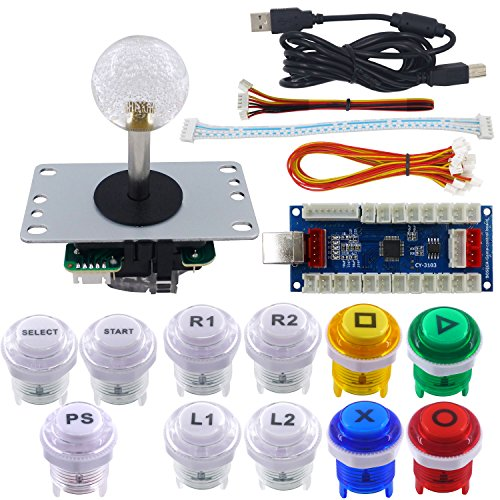 SJ@JX Arcade Game Stick DIY Kit Buttons with Logo 8 Way Joystick USB Encoder Cable Controller for PC PS3 PS2 MAME Raspberry Pi Color Mix