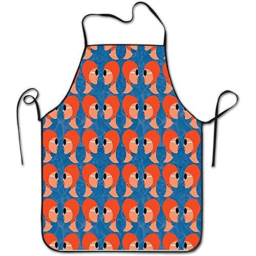Lido Dames Oranje Wasbaar Verstelbare Bib Keuken Schort Voor Vrouwen, Keuken schorten Voor Koken Restaurant Tuin