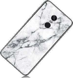 Yoodi Xiaomi Redmi Note 4 Case, Marble Design Tempered Glass Back Case Premium Hybrid Anti-Scratch Flexible Edge Bumper Cover Skin for Xiaomi Redmi Note 4/Note 4X (Mediatek) - White