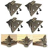 FomCcu 4 piezas de latón antiguo joyería caja de madera pies pierna protector muebles decoraciones regalos