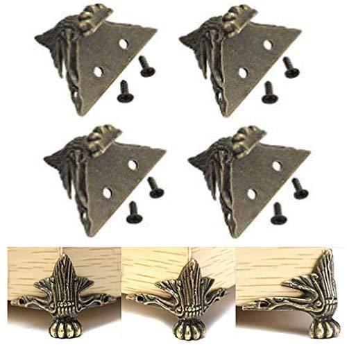 FomCcu 4Messing antik Schmuck Holz Box Füße Bein Eckenschutz Möbel Decors Geschenke