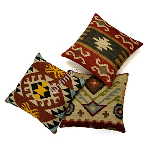 iinfinize18 Wool Cushion Cover Tassel Tufted Pillow Cover Traditional Ethnic Sofa Sham 18x18'' Square Cushion Cover Indian Neck Cushion Cover (Multi)