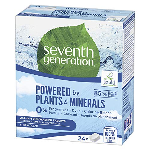 Seventh Generation Free and Clear All in 1 for Earth-Friendly Results Dishwasher Tablets 24 Tablets