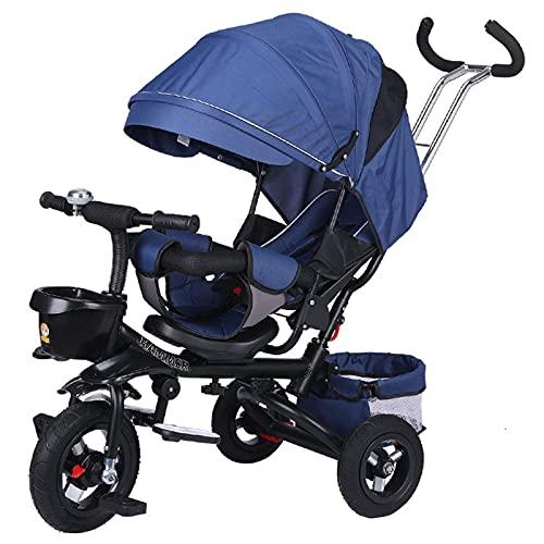 BSWL Triciclo para Niños De 4 En 1, Asiento De Dirección Bidireccional, Cochecito De Bicicleta para Niños Plegable Y Reclinado, Adecuado para Niños De 1 A 6 (Cuerpo Negro),Azul
