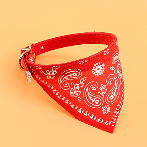 OLIVE US-Adjustable Pet Dog Puppy Cat Neck Scarf Bandana with Leather Collar Neckerchief(red)
