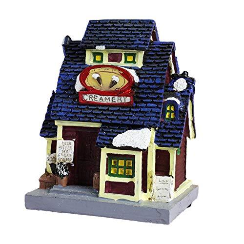 HUYING Weihnachtshaus Mit Beleuchtung, Harz Puppenhaus DIY Miniatur Weihnachten, Mini Haus Mit LED Weihnachtsbeleuchtung - Weihnachtsdeko Haus - Deko Holzhaus Winterhaus Beleuchtet