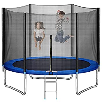 Trampoline 10FT for Kids Adults Outdoor with Ladder LOKDOF Recreational Trampoline with Safety Enclosure Net【ASTM Approved】 Exercise Trampoline for Family Happy Time