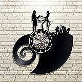 jjyyy Reloj de Pared de Vinilo CD Pesadilla Antes de Navidad Música Música Jardín de Infantes Reloj artístico Regalo Creativo