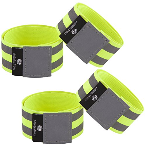 Reflective Bands for Men and Women | Reflectors for Runners, Cycling, Walking | Set of 4 Reflective Ankle Bands, Armbands, Wristbands | Reflector Tape Providing High Visibility Safety Apparel