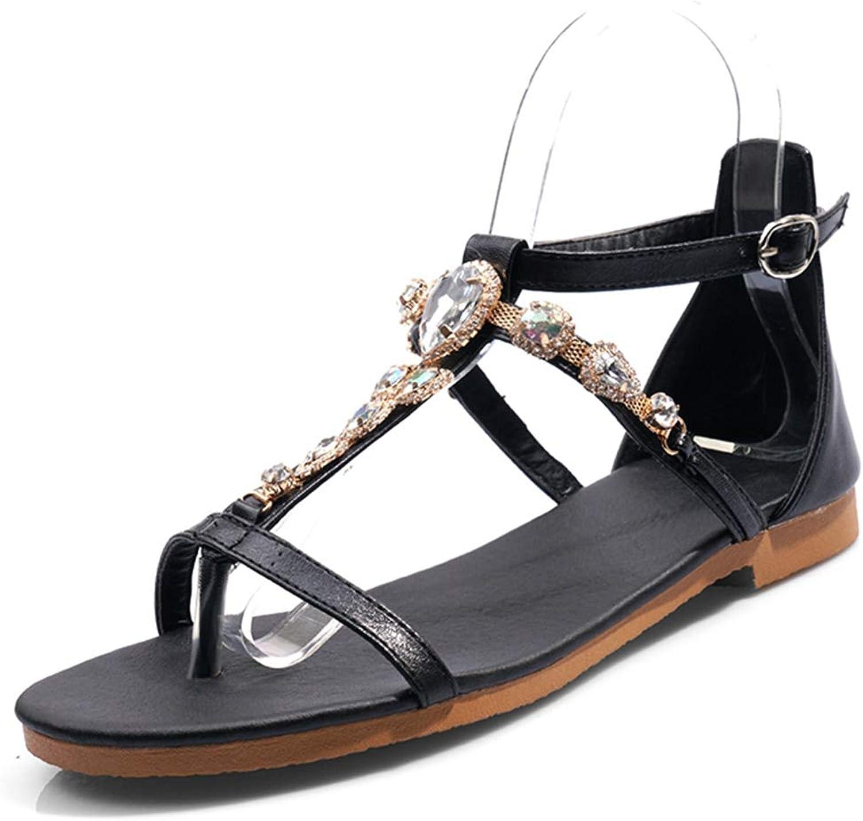 Vimisaoi Women's Casual Roman T-Strap Flat Sandals, Clip Toe Flip Flops Thongs Comfort Beach Walking shoes Ankle Booties