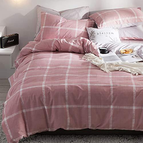 Luofanfei Uni Bettwäsche Grau 135x200 Baumwolle Kariert 2 Teilig Bettbezug Rosa Pink mit 2 Kopfkissenbezügen 80 x 80 cm Vintage