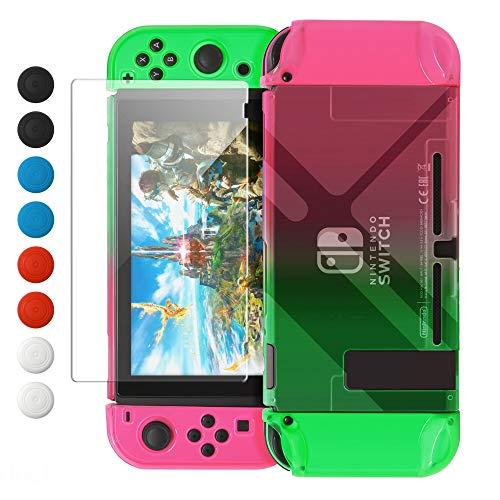 Dockable Case Compatible with Nintendo Switch, FYOUNG Protective Accessories Cover Case Compatible with Nintendo Switch and Nintendo Switch Joy-Con with Thumbstick Caps- Left Pink Right Green