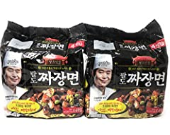 Famous Paldo Instant Noodle Premium Jjajang in 8 Packs Select - Great Value Thick and chewy noodle, coated in the black bean sauce Product of Korea 8 x 7.16 Ounce