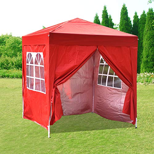 Pop Up 2 x 2m Outdoor Gazebo Marquee Garden Awning Tent Folding Canopy with 4 Sidewall and Carrying Bag for Festival Wedding Party (Red)