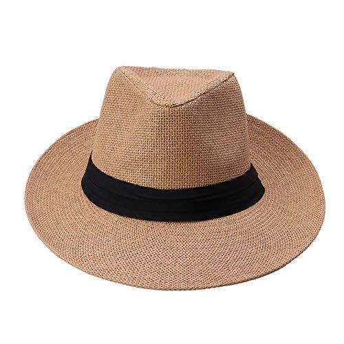 LINBUDAO Zomer vrije tijd unisex strand grote rand zonnehoed dames heren hoed met zwart lint