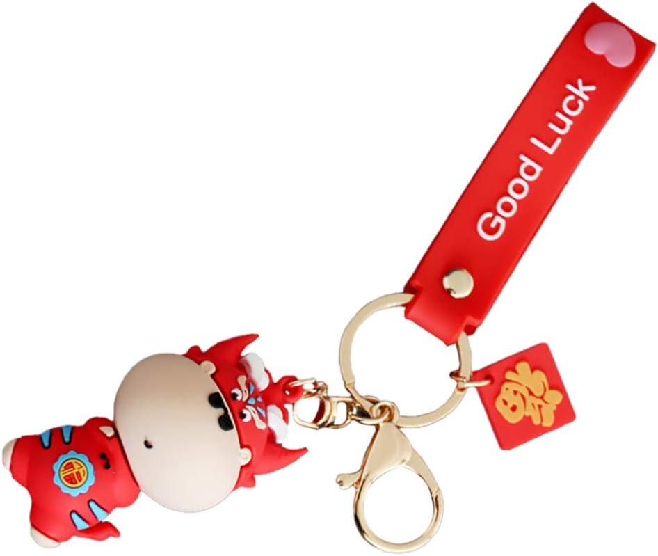 PRETYZOOM Cow Keychain Ox Calf Keyring Purse Pendant Handbag Charm Women Car Bag Keychain Charm 2021 Chinese Zodiac New Year Party Favor Gift (Mixed Color)