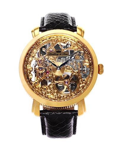 Lindberg and Sons Herren Automatikuhr gold mit einem echten Diamanten und Leder Armband Schwarz Skelettuhr Analog Männeruhr Herrenuhr SK14H060