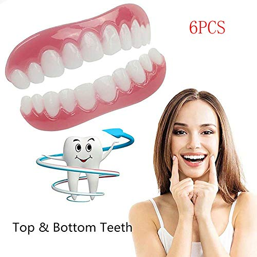 6PCS bovenste en onderste witter maken van tanden Sets, Silicone kunsttanden, Whitening tandpasta Smile kunstgebit