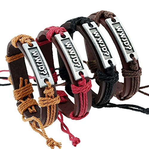 Sunling 4 Pack Adjustable WWJD Cowhide Leather Bracelet for Women Men Religious What Would Jesus Do Gods Guide Bangle Wristband