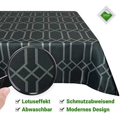 Valia Home Tischdecke Tischtuch Tafeldecke abwaschbar wasserdicht schmutzabweisend Lotuseffekt pflegeleicht Teflon behandelt eckig 140 x 280 cm dunkel-grau