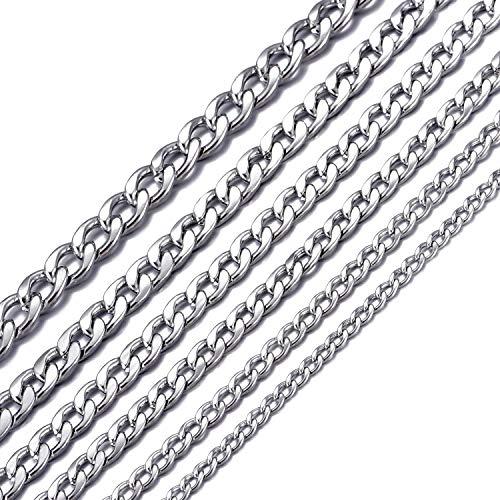 MASADA Collar de Acero Inoxidable para Hombre de Fina a masiva Cadena Ancha de Plata y Oro