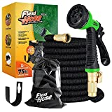 Flexi Hose Plus Lightweight Expandable Garden Hose, No-Kink Flexibility, 3/4 Inch Solid Brass Fittings and Double Latex Core
