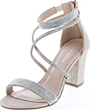 TOP Moda Dressy/Formal Sandals High Heel Ankle Strap Open Toe Sandals,Champagne,7.5